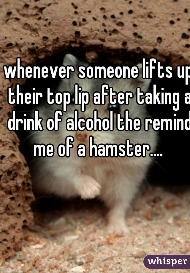 whenever someone lifts up their top lip after taking a drink of alcohol the remind me of a hamster....