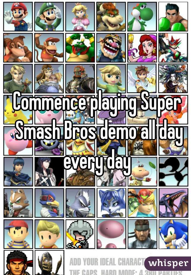Commence playing Super Smash Bros demo all day every day