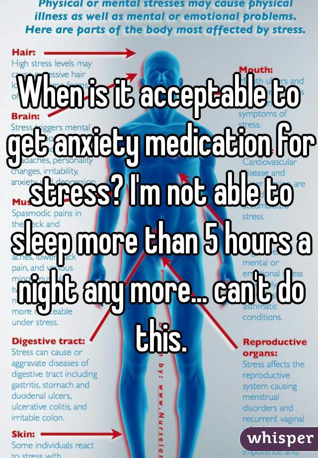 When is it acceptable to get anxiety medication for stress? I'm not able to sleep more than 5 hours a night any more... can't do this.