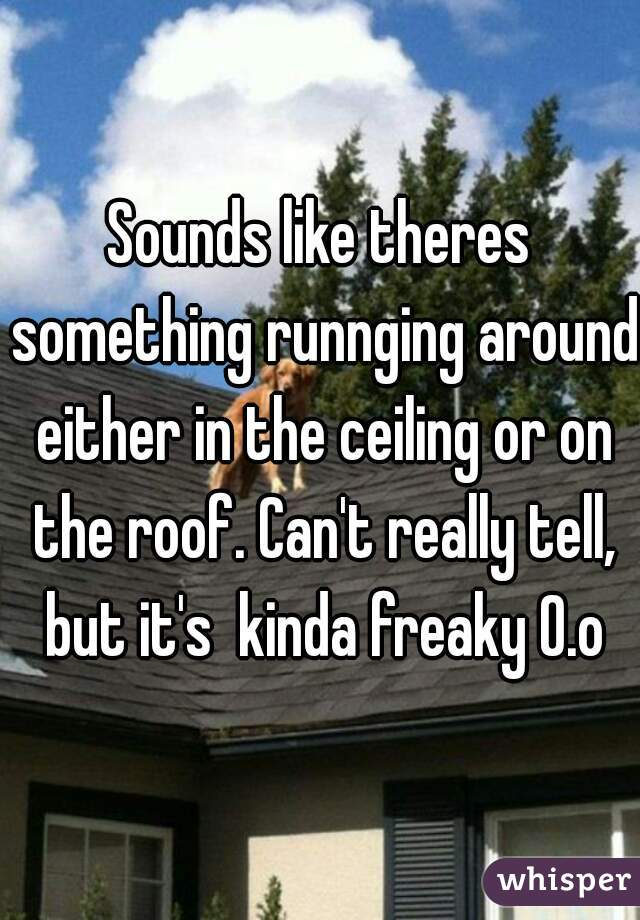 Sounds like theres something runnging around either in the ceiling or on the roof. Can't really tell, but it's  kinda freaky O.o