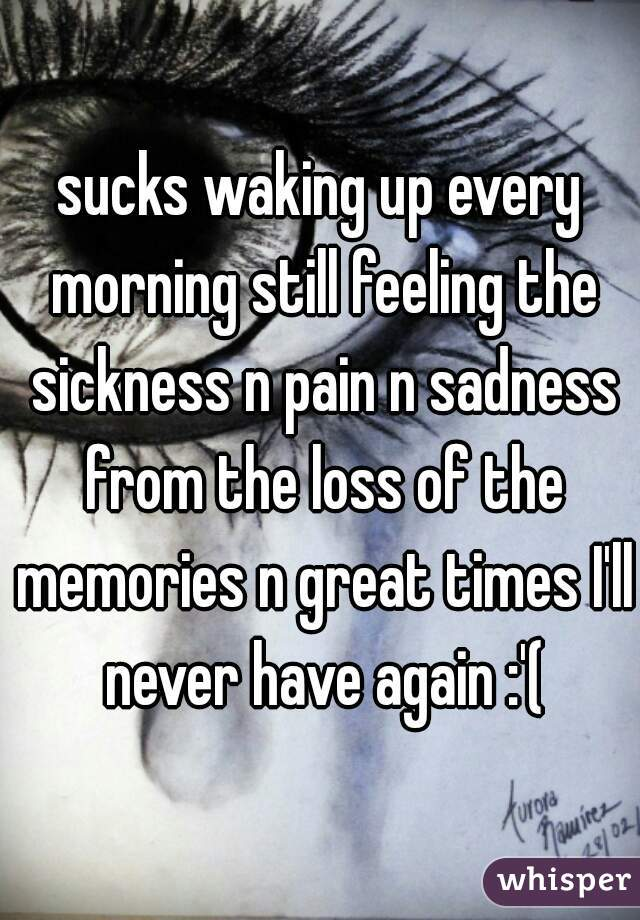 sucks waking up every morning still feeling the sickness n pain n sadness from the loss of the memories n great times I'll never have again :'(