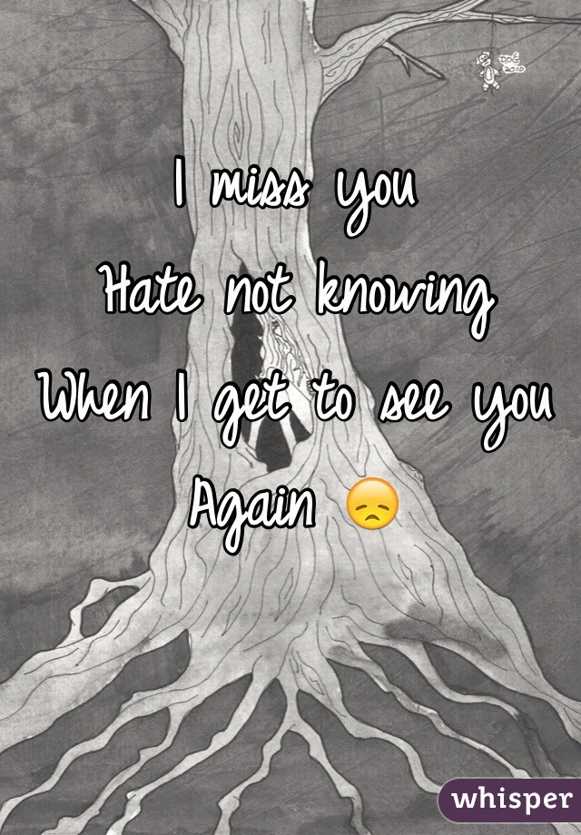I miss you Hate not knowing When I get to see you Again 😞