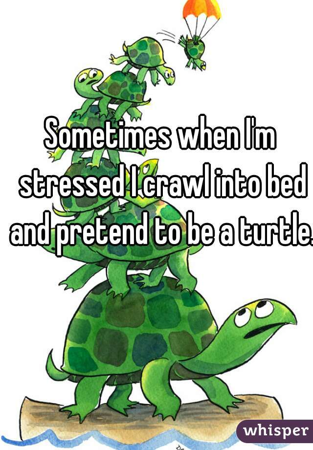 Sometimes when I'm stressed I crawl into bed and pretend to be a turtle.