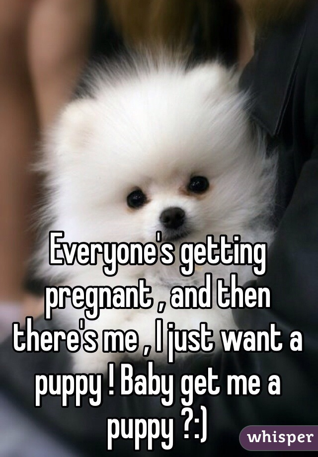 Everyone's getting pregnant , and then there's me , I just want a puppy ! Baby get me a puppy ?:)