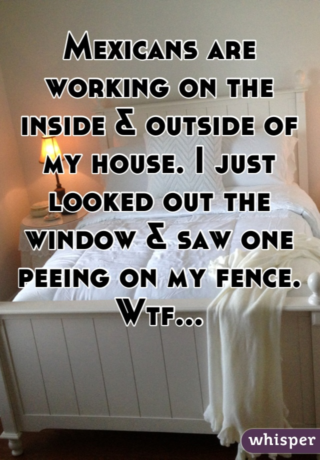 Mexicans are working on the inside & outside of my house. I just looked out the window & saw one peeing on my fence. Wtf...