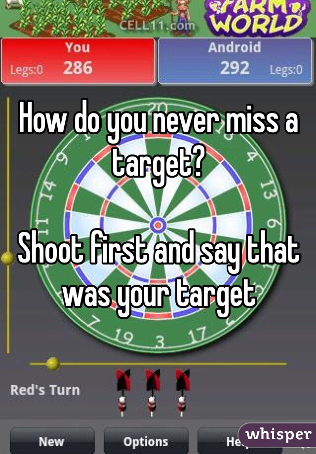 How do you never miss a target?   Shoot first and say that was your target