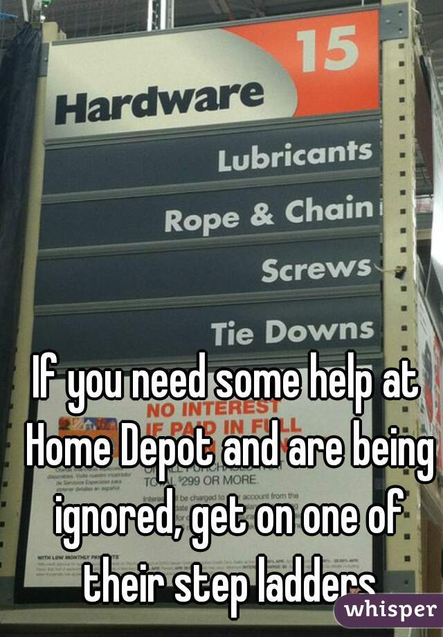 If you need some help at Home Depot and are being ignored, get on one of their step ladders