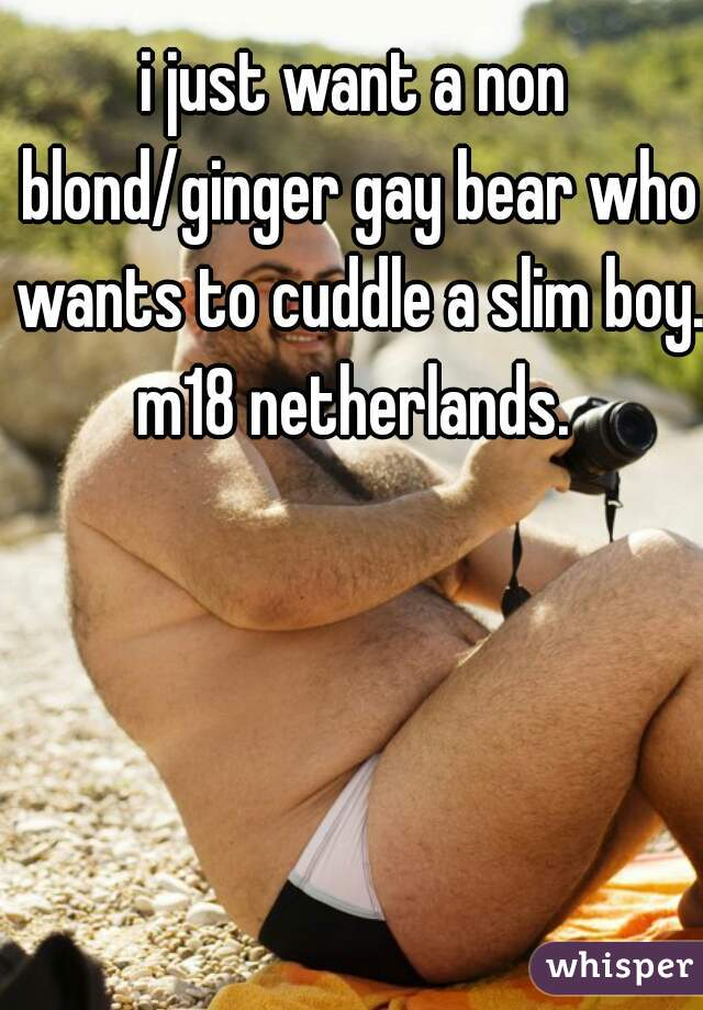 i just want a non blond/ginger gay bear who wants to cuddle a slim boy. m18 netherlands.