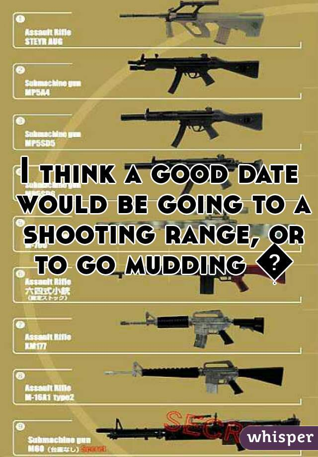 I think a good date would be going to a shooting range, or to go mudding 👍