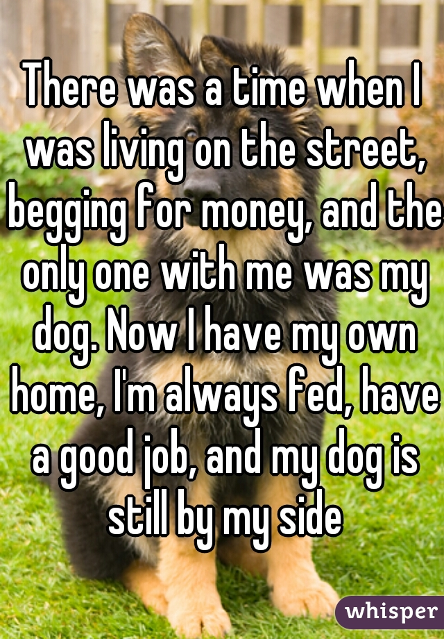 There was a time when I was living on the street, begging for money, and the only one with me was my dog. Now I have my own home, I'm always fed, have a good job, and my dog is still by my side
