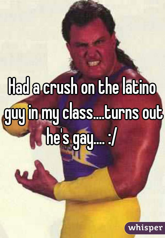 Had a crush on the latino guy in my class....turns out he's gay.... :/