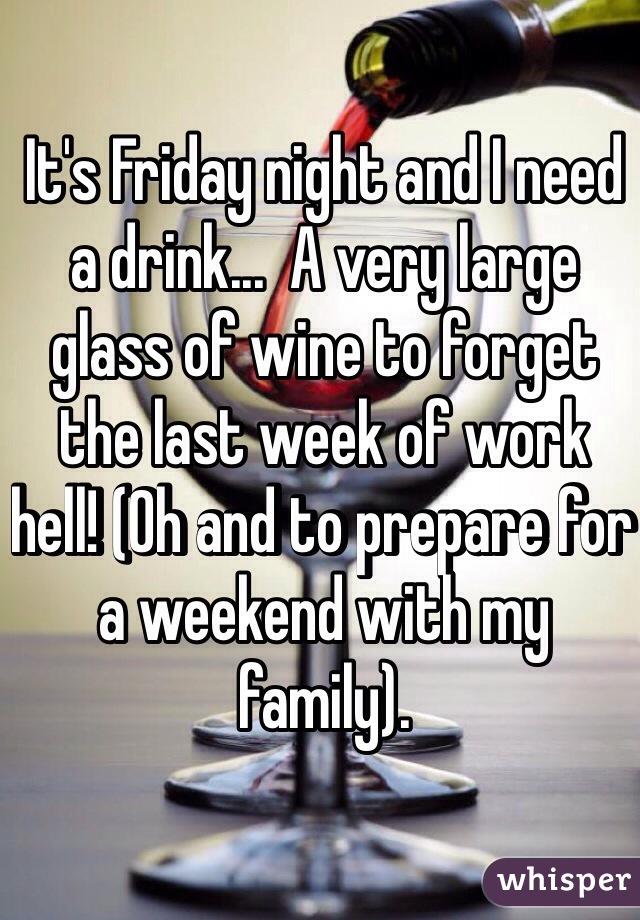 It's Friday night and I need a drink...  A very large glass of wine to forget the last week of work hell! (Oh and to prepare for a weekend with my family).