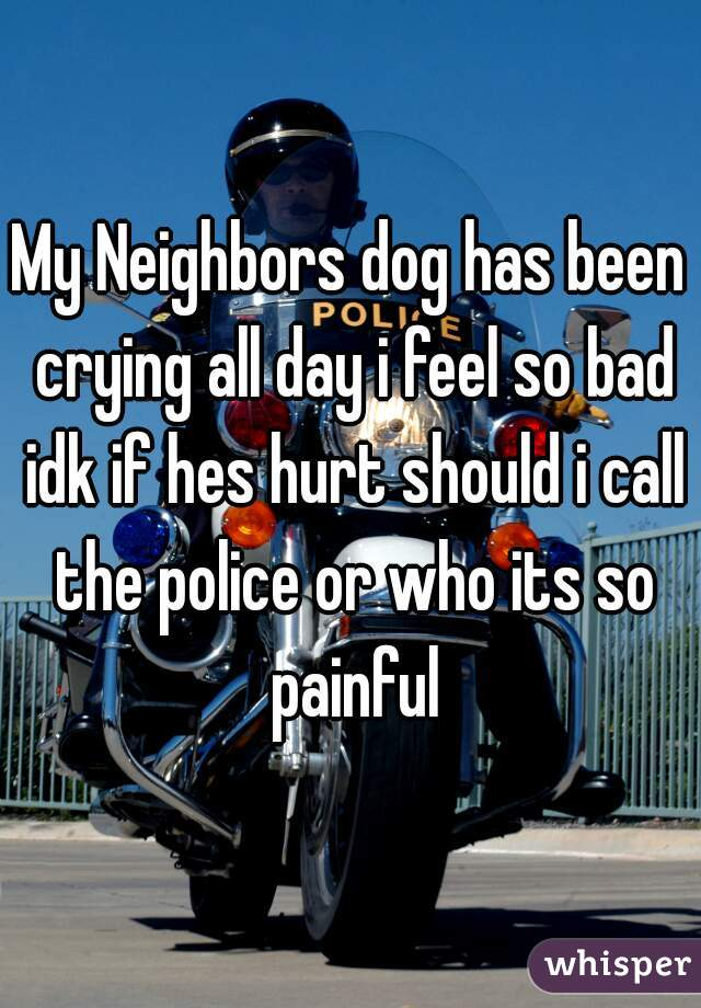 My Neighbors dog has been crying all day i feel so bad idk if hes hurt should i call the police or who its so painful