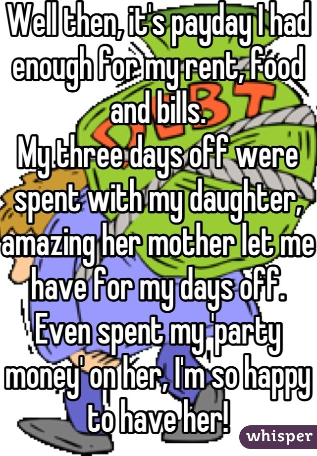 Well then, it's payday I had enough for my rent, food and bills. My three days off were spent with my daughter, amazing her mother let me have for my days off. Even spent my 'party money' on her, I'm so happy to have her!