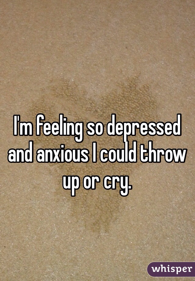 I'm feeling so depressed and anxious I could throw up or cry.
