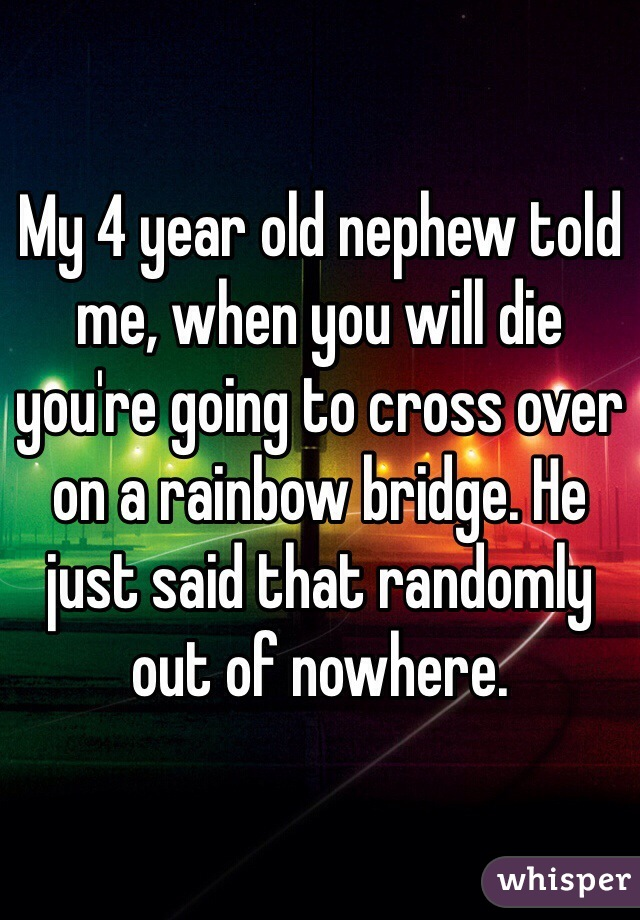 My 4 year old nephew told me, when you will die you're going to cross over on a rainbow bridge. He just said that randomly out of nowhere.