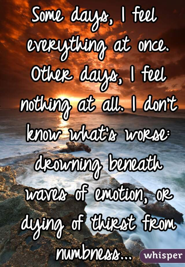 Some days, I feel everything at once. Other days, I feel nothing at all. I don't know what's worse: drowning beneath waves of emotion, or dying of thirst from numbness...