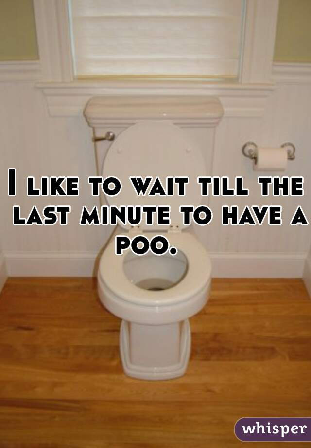 I like to wait till the last minute to have a poo.
