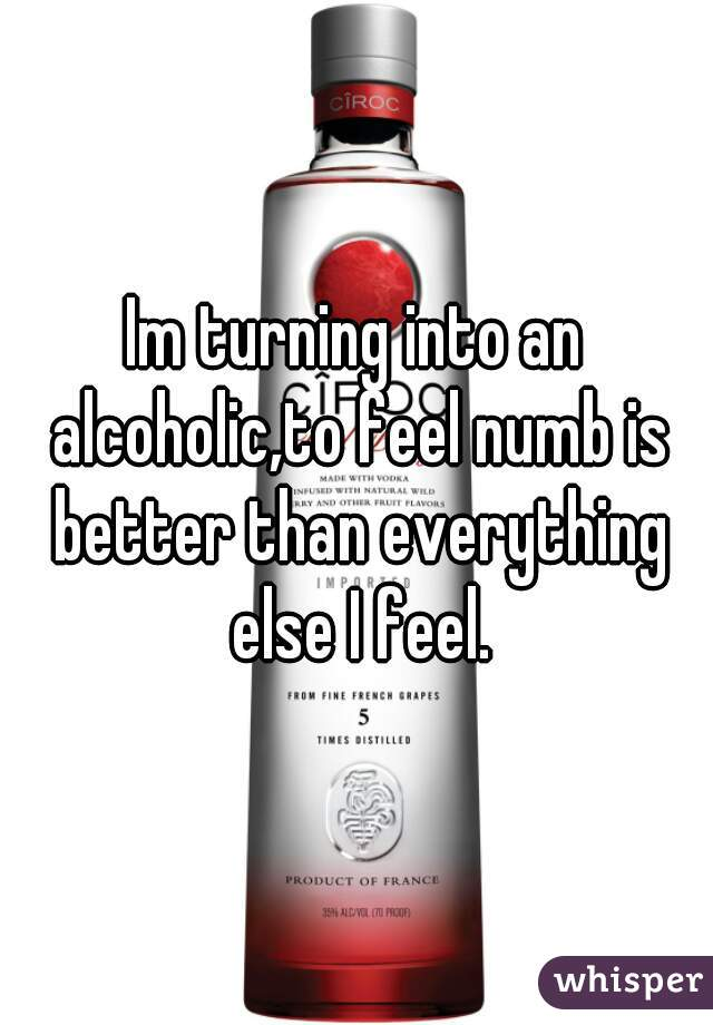 Im turning into an alcoholic,to feel numb is better than everything else I feel.