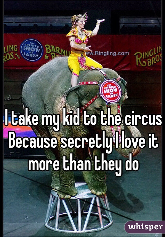 I take my kid to the circus Because secretly I love it  more than they do