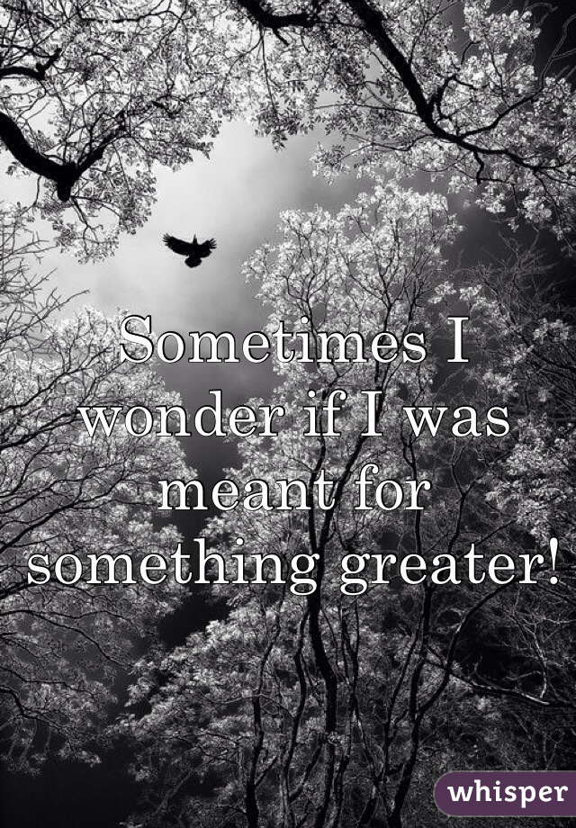 Sometimes I wonder if I was meant for something greater!