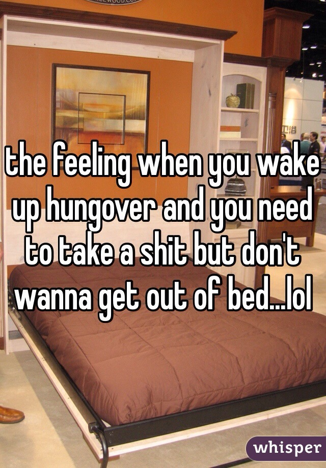the feeling when you wake up hungover and you need to take a shit but don't wanna get out of bed...lol