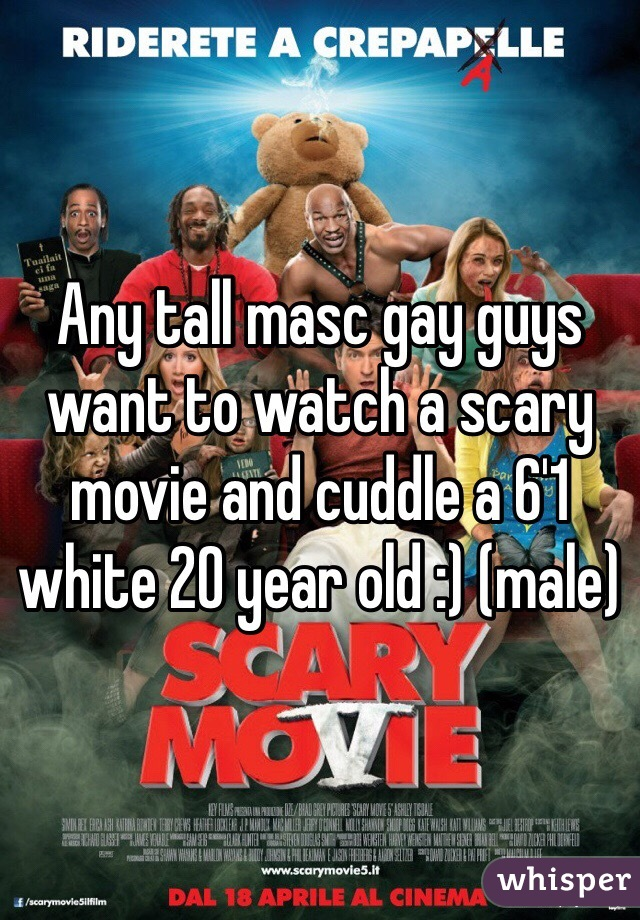 Any tall masc gay guys want to watch a scary movie and cuddle a 6'1 white 20 year old :) (male)