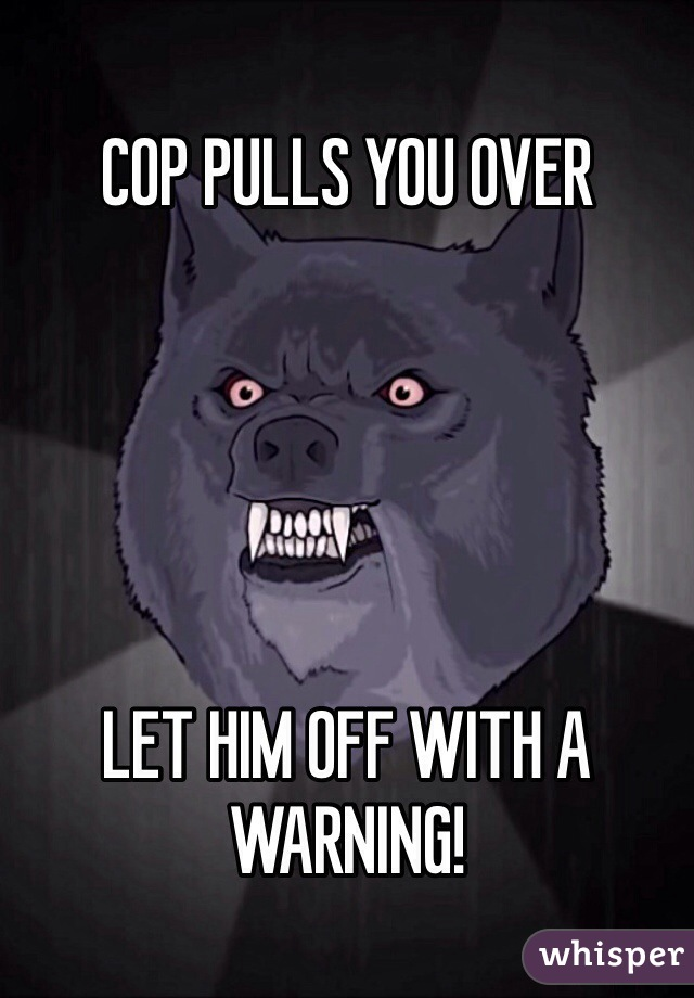 COP PULLS YOU OVER      LET HIM OFF WITH A WARNING!