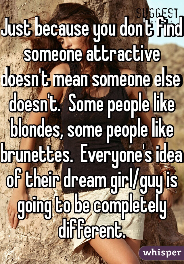 Just because you don't find someone attractive doesn't mean someone else doesn't.  Some people like blondes, some people like brunettes.  Everyone's idea of their dream girl/guy is going to be completely different.