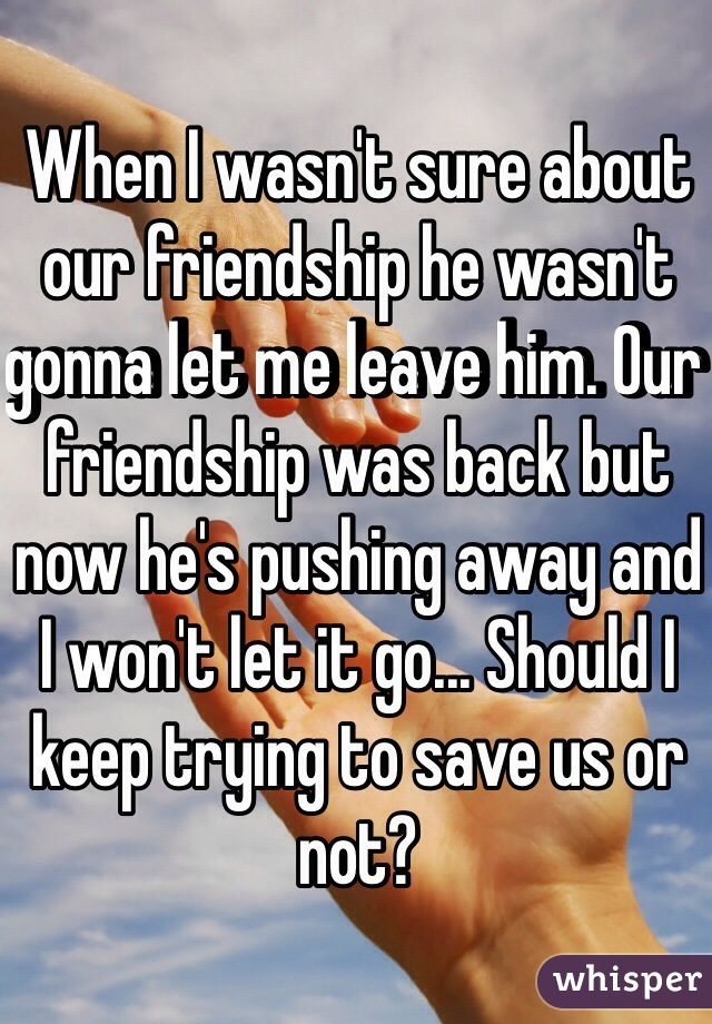 When I wasn't sure about our friendship he wasn't gonna let me leave him. Our friendship was back but now he's pushing away and I won't let it go... Should I keep trying to save us or not?