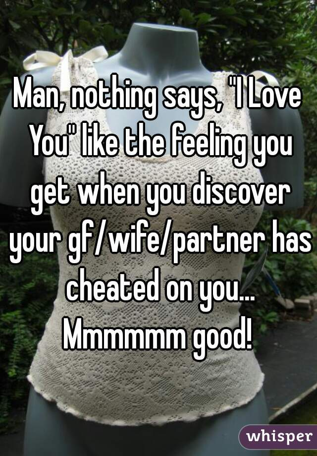"Man, nothing says, ""I Love You"" like the feeling you get when you discover your gf/wife/partner has cheated on you... Mmmmmm good!"