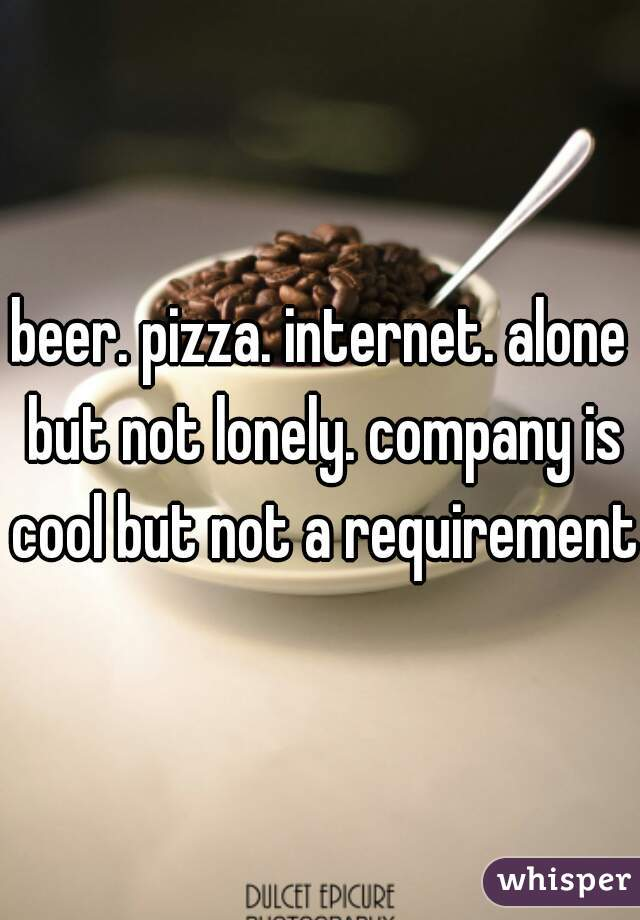 beer. pizza. internet. alone but not lonely. company is cool but not a requirement.