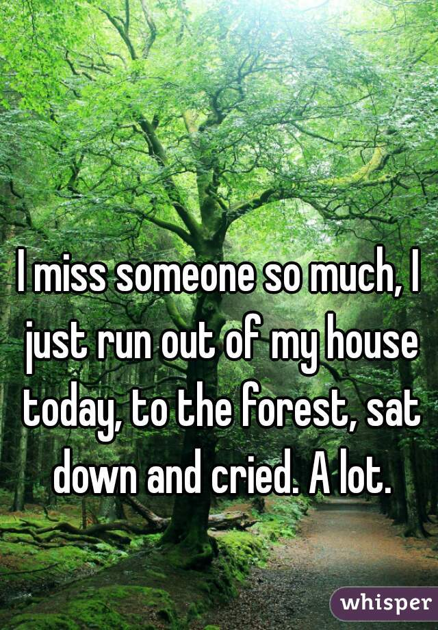 I miss someone so much, I just run out of my house today, to the forest, sat down and cried. A lot.