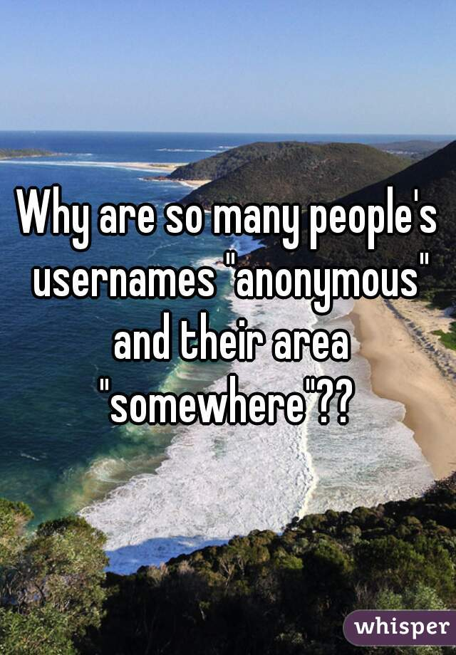 "Why are so many people's usernames ""anonymous"" and their area ""somewhere""??"
