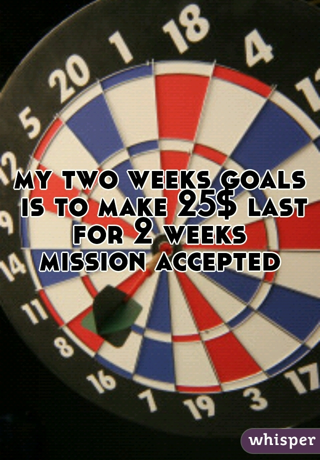 my two weeks goals is to make 25$ last for 2 weeks    mission accepted