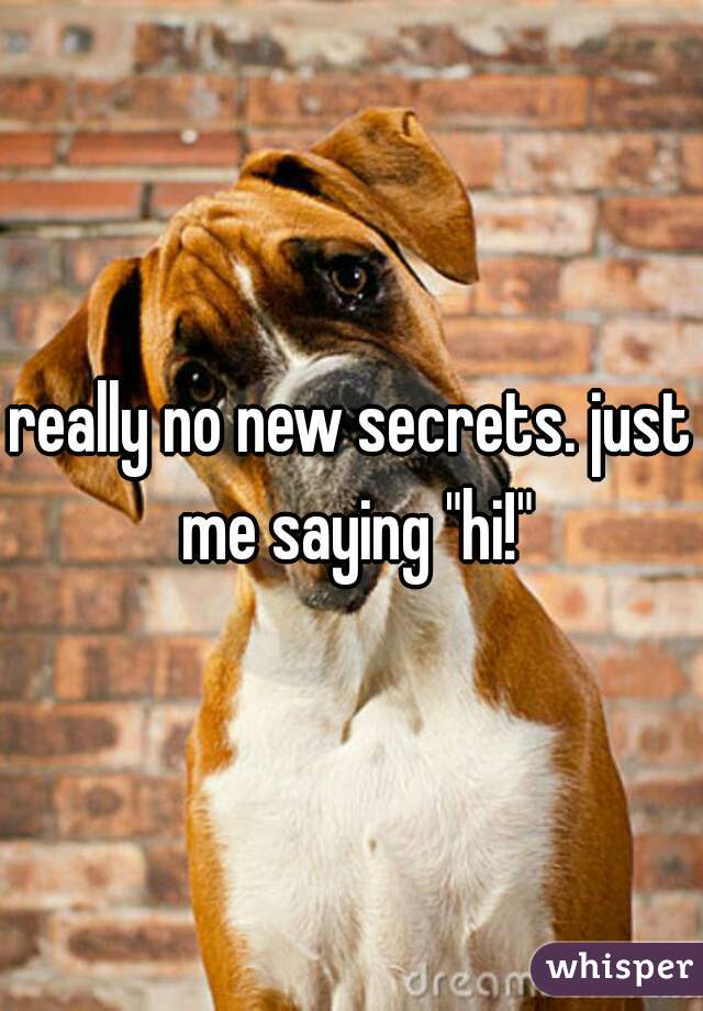 "really no new secrets. just me saying ""hi!"""