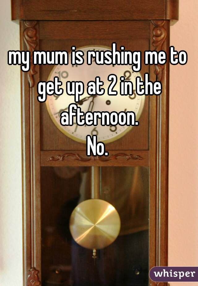 my mum is rushing me to get up at 2 in the afternoon. No.