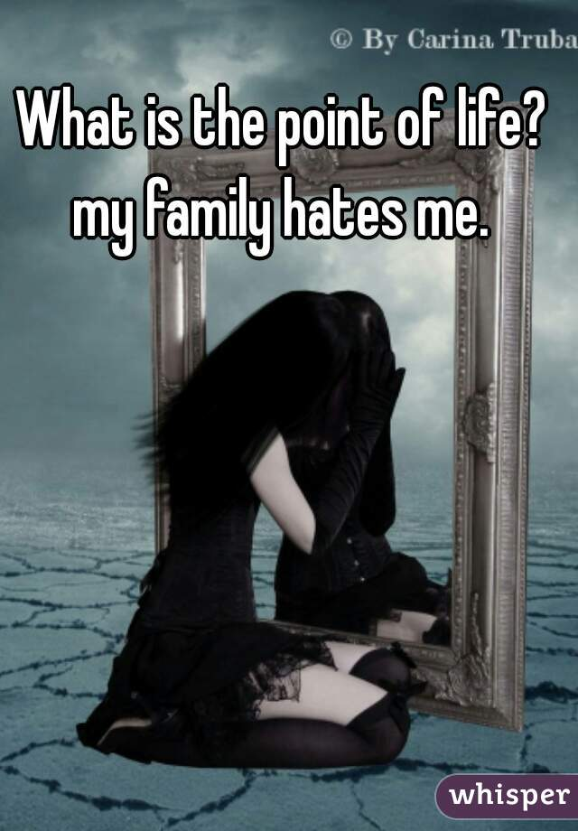 What is the point of life? my family hates me.