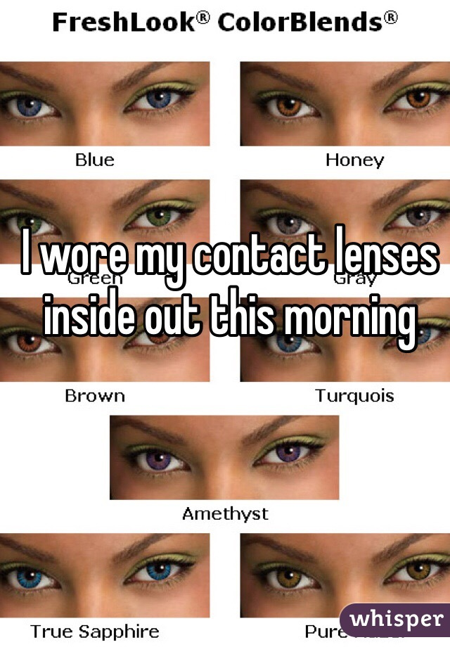 I wore my contact lenses inside out this morning