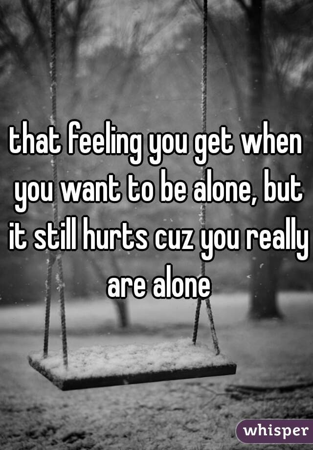 that feeling you get when you want to be alone, but it still hurts cuz you really are alone
