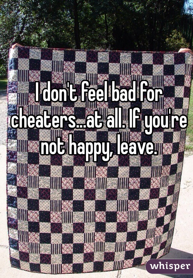 I don't feel bad for cheaters...at all. If you're not happy, leave.