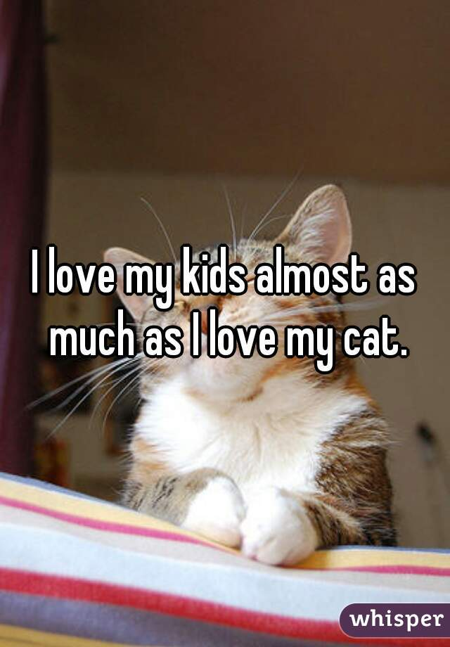 I love my kids almost as much as I love my cat.
