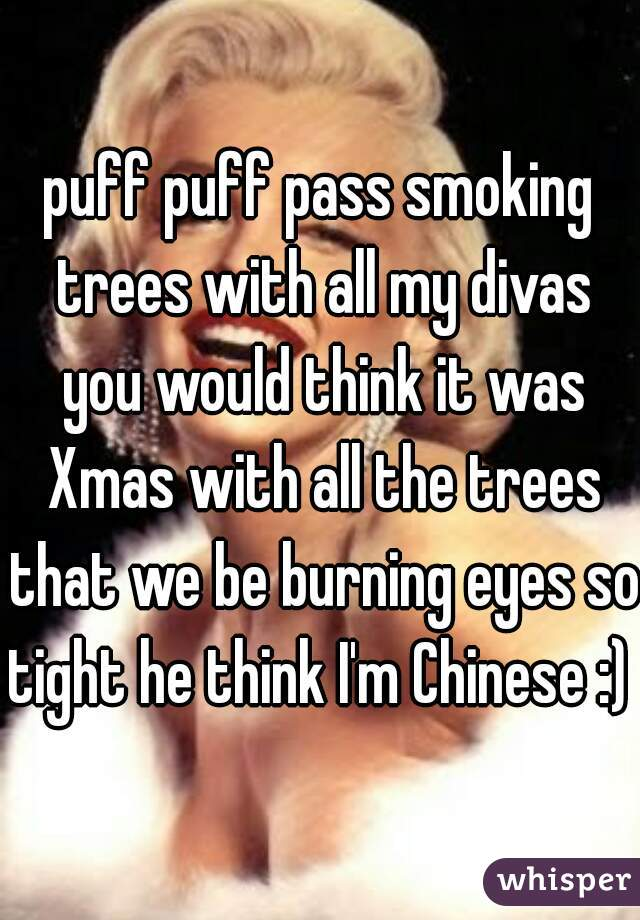 puff puff pass smoking trees with all my divas you would think it was Xmas with all the trees that we be burning eyes so tight he think I'm Chinese :)