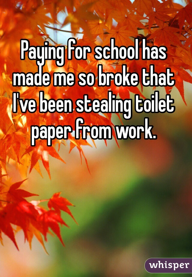 Paying for school has made me so broke that I've been stealing toilet paper from work.