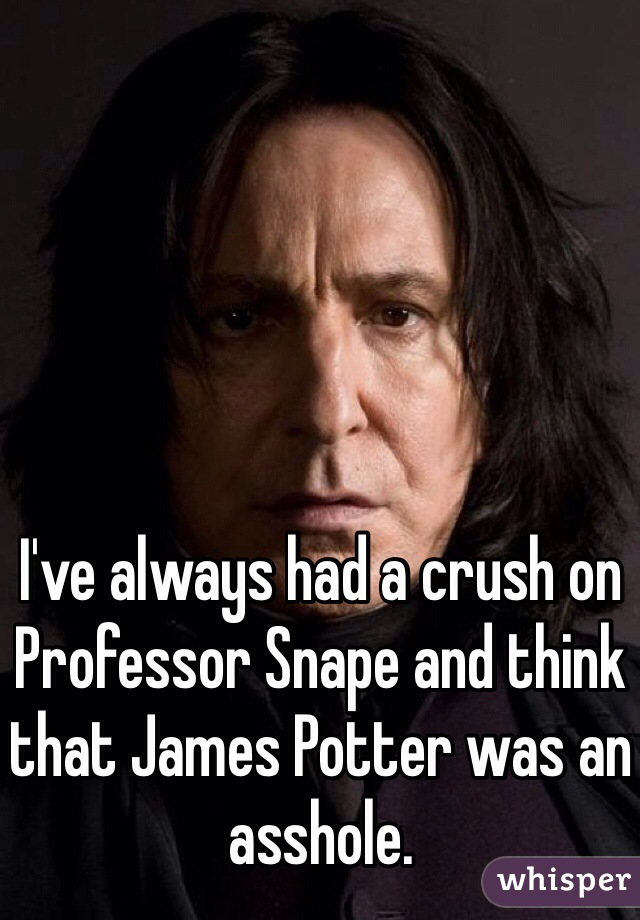I've always had a crush on Professor Snape and think that James Potter was an asshole.
