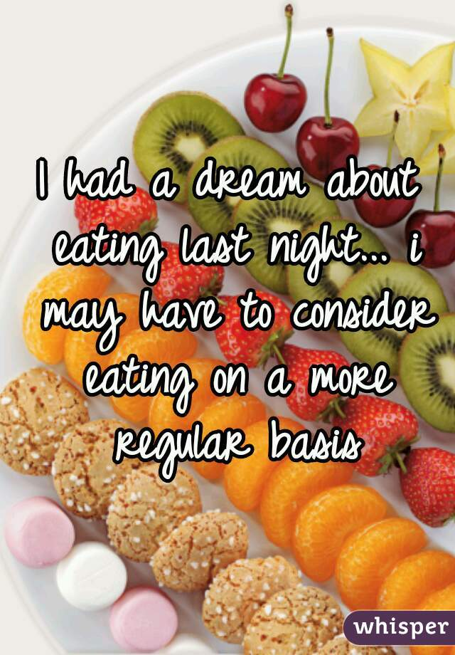 I had a dream about eating last night... i may have to consider eating on a more regular basis