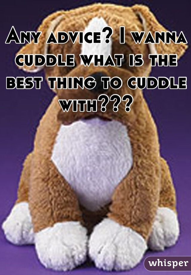 Any advice? I wanna cuddle what is the best thing to cuddle with???