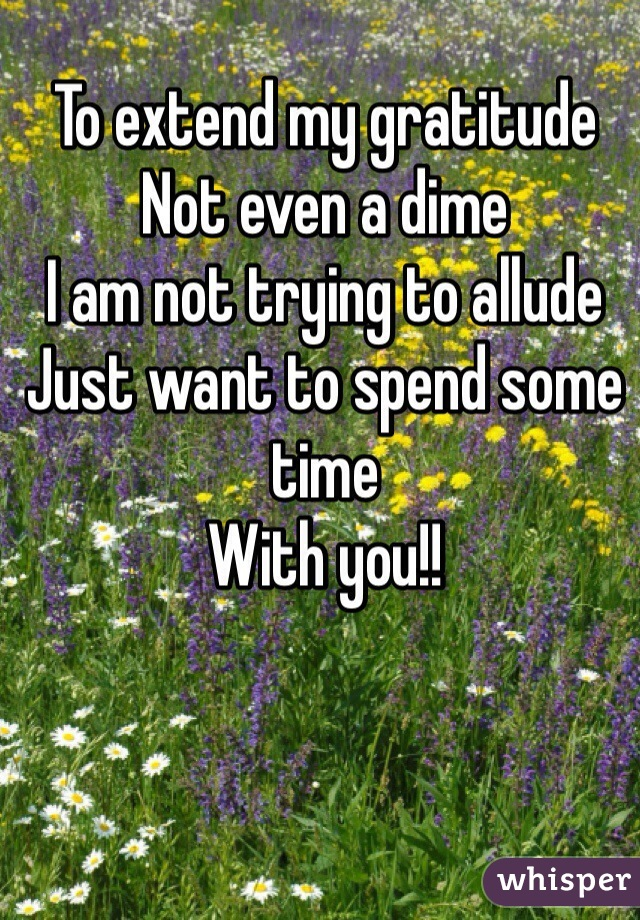 To extend my gratitude  Not even a dime I am not trying to allude Just want to spend some time With you!!