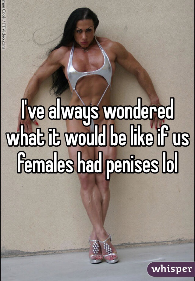 I've always wondered what it would be like if us females had penises lol