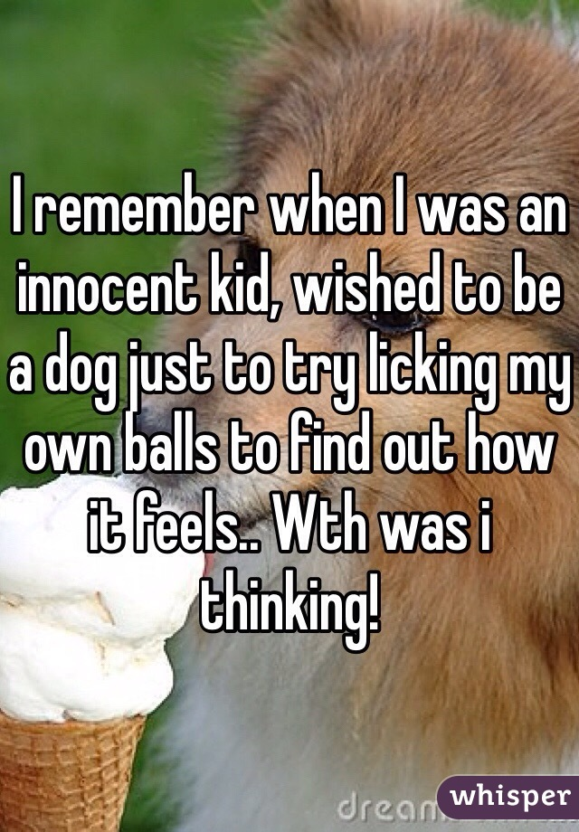I remember when I was an innocent kid, wished to be a dog just to try licking my own balls to find out how it feels.. Wth was i thinking!